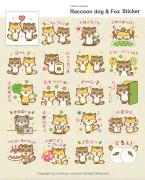 Raccoon dog & Fox Sticker